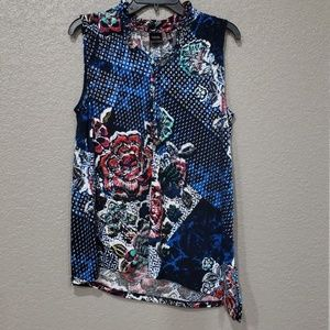 Rafaella women's blue multi print sleeveless top